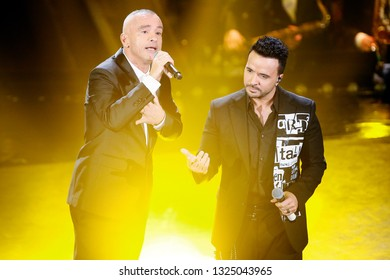 SANREMO, ITALY, February 9, 2019: Singers Eros Ramazzotti and Luis Fonsie perform during the 69th Italian Song Festival at Ariston theatre in Sanremo, Italy.