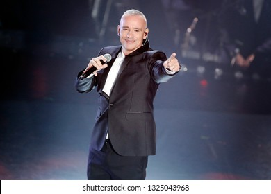 SANREMO, ITALY, February 9, 2019: Singer Eros Ramazzotti performs during the 69th Italian Song Festival at Ariston theatre in Sanremo, Italy.