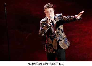 SANREMO, ITALY, February 9, 2019: Singer Irama performs during the 69th Italian Song Festival at Ariston theatre in Sanremo, Italy.