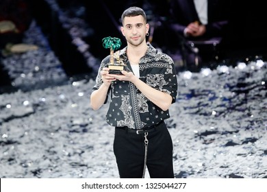 SANREMO, ITALY, February 9, 2019: Singer Mahmood is the winner of the 69th Italian Song Festival at Ariston theatre in Sanremo, Italy.