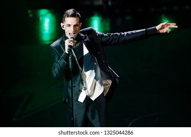 SANREMO, ITALY, February 9, 2019: Singer Achille Lauro performs during the 69th Italian Song Festival at Ariston theatre in Sanremo, Italy.