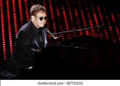 SANREMO, ITALY, FEBRUARY 9: Elton John performs during the first night of Sanremo Italian Song's Festival at Ariston theater in Sanremo on February 9, 2016.