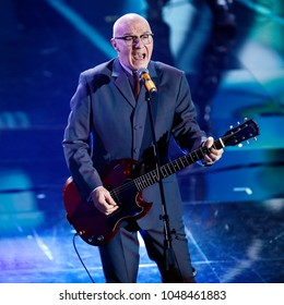 SANREMO, ITALY, FEBRUARY 9: Singer Midge Ure performs on the stage of  the 68th Sanremo Song Festival on February 9, 2018, in Sanremo, Italy.