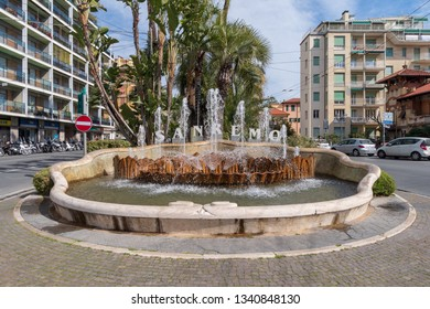 Sanremo, Italy - March 13, 2019: San Remo welcome sign public fountain
