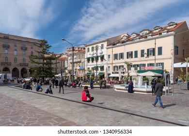 Sanremo, Italy - March 13, 2019: Colombo square in Sanremo, seaside city on the Italian Riviera
