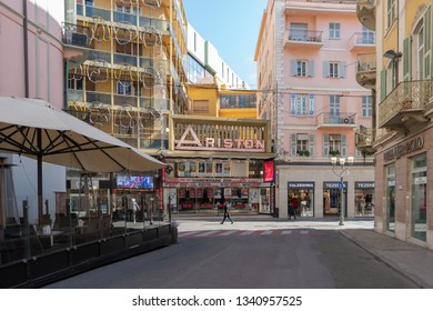 Sanremo, Italy - March 13, 2019: View of the Ariston Theatre in Sanremo in pedestrian street Matteotti. The theater has been the home of the annual Sanremo Music Festival Competitions, since 1977