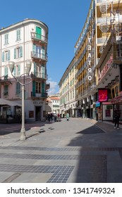 Sanremo, Italy - March 13, 2019: Pedestrian main street G.Matteotti in the old town of Sanremo, seaside city on the Italian Riviera