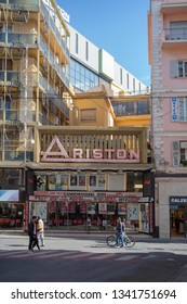 Sanremo, Italy - March 13, 2019: View of the Ariston Theatre in Sanremo in pedestrian main street. The theater has been the home of the annual Sanremo Music Festival Competitions, since 1977