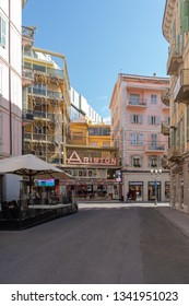 Sanremo, Italy - March 13, 2019: View of Ariston Theatre in Sanremo in pedestrian main street G.Matteotti. The theater has been the home of the annual Sanremo Music Festival Competitions, since 1977