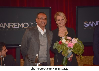 Sanremo Itay,January 11, 2017: Press Conference of the 67th festival of Italian song. Carlo Conti and Maria De Filippi will be the presenters of the event.