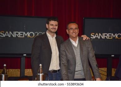 Sanremo Itay,January 11, 2017: Press Conference of the 67th festival of Italian song. Pictured from left to right Andrea Fabiano (RAI UNO director), Carlo Conti (conductor)