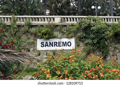 Sanremo written on a wall in Sanremo, Italy