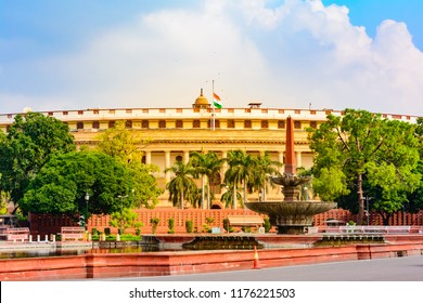The Sansad Bhawan or Parliament Building is the house of the Parliament of India, New Delhi.  It was designed based on  Ashoka Chakra by the British architect Edwin Lutyens & Herbert Baker in 1912-13.