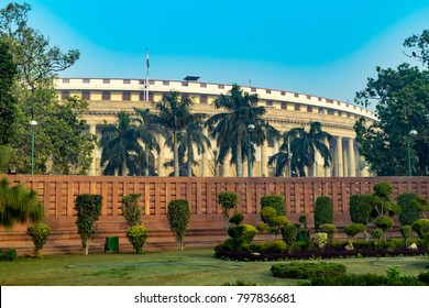 The Sansad Bhawan or Parliament Building is the house of the Parliament of India, New Delhi.  It was designed by the British architect Edwin Lutyens and Herbert Baker in 1912-1913.