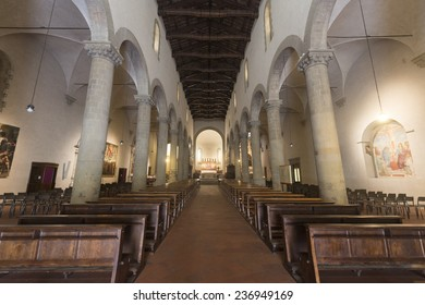 SANSEPOLCRO, ITALY - JULY 21, 2014: interior of the medieval cathedral, built in 11th century