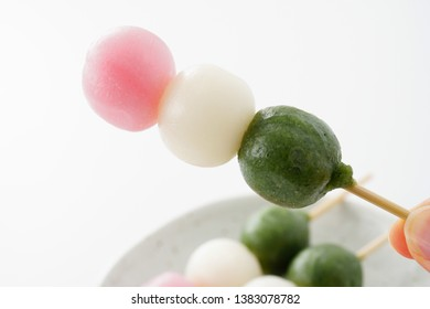 Sanshoku Dango. Three Colored Dumplings.