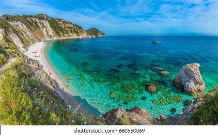 Sansone beach with amazing turquoise water, Elba Island, Tuscany, Italy.