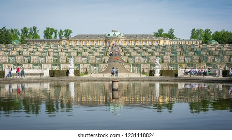 Sanssouci Palace crowded with tourist in daytime, Potsdam, Germany, 28th April 2018
