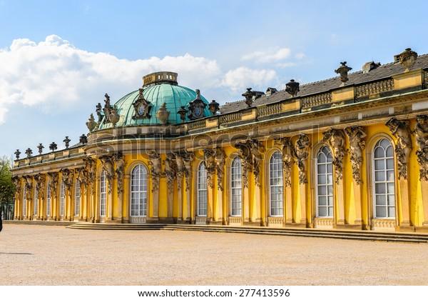 Schloss Sanssouci, ehemaliger Sommerpalast Frederick der Große, König von Preußen, in Potsdam, bei Berlin