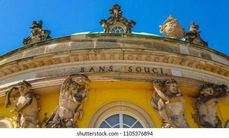 Sanssouci Palace - Iconic palace of Frederick the Great in Potsdam - POTSDAM / GERMANY - MAY 22, 2018