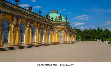 Sanssouci Palace in Potsdam - most famous landmark in the city - POTSDAM / GERMANY - MAY 22, 2018
