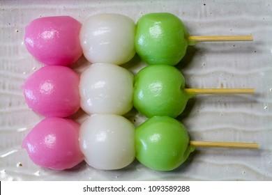 Sansyoku dango is Japanese traditional three color dango. It is sweet dumpling confectionary.