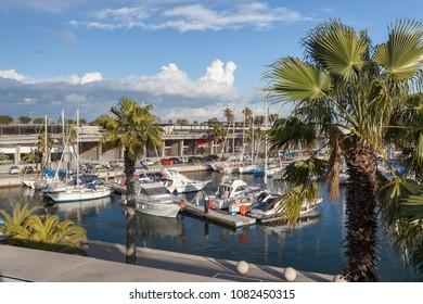SANT ADRIA BESOS,SPAIN-FEBRUARY 28,2014:Port Forum marina in Sant Adria Besos, close to Barcelona city.