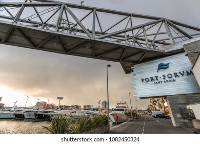 SANT ADRIA BESOS,SPAIN-FEBRUARY 28,2014:Port Forum marina in Sant Adria Besos, close to Barcelona city.
