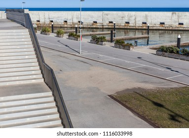 SANT ADRIA DE BESOS,SPAIN-APRIL 5,2014: Port forum view, town of Sant Adria close to Barcelona park Forum area.