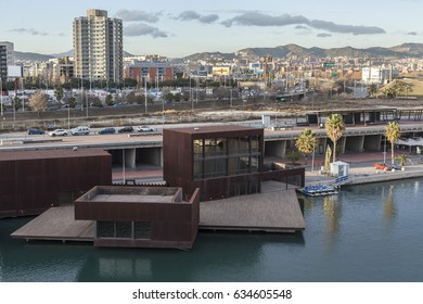SANT ADRIA DE BESOS,SPAIN-JANUARY 14,2016: Port forum view,Sant Adria,province Barcelona.