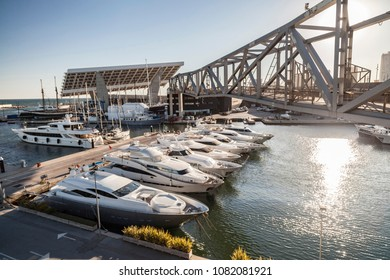 SANT ADRIA DE BESOS,SPAIN-MARCH 5,2015:Port Forum marina in Sant Adria Besos, close to Barcelona city.
