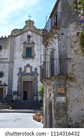 Sant' Agostino Church in the medieval village of Forza d'Agro in Sicily, movie location of godfather, a sunny day in summer