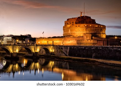 Sant' Angelo Castle and Tiber River in Rome, Italy by night