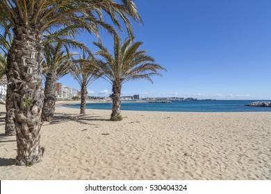 SANT ANTONI DE CALONGE,SPAIN-MARCH 4,2014: View of beach of mediterranean village of Sant Antoni de Calonge in Costa Brava, province Girona,Catalonia, Spain.
