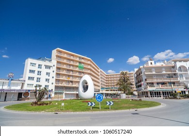 SANT ANTONI DE PORTMANY,IBIZA,SPAIN-MARCH 21,2018: City center, square with monument Egg, town of Sant Antoni, Ibiza Island,Spain.