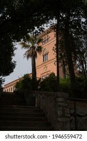 Sant Boi de Llobregat, Spain; March 2021. Marianao Palace in a romantic garden of San Baudilio, in the Baix Llobregat region, Barcelona, Catalonia.