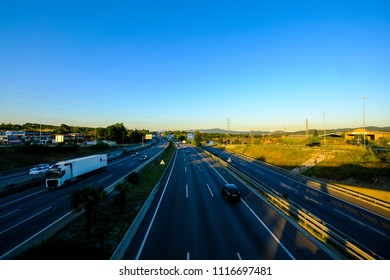 Sant Cugat del Valles, Barcelona, Spain - June 19, 2018: The new government of the Spanish PSOE has announced that some sections of the AP-7 highway will no longer be toll. I