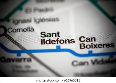 Sant Ildefons Station. Barcelona Metro map.