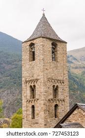 Sant Joan de Boi romanesque church, Pyrenees, Lleida, Vall de Boi, Catalonia, Spain. This church belongs to the UNESCO world heritage site