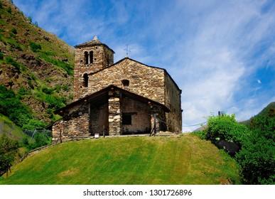 Sant Joan de Caselles (Canillo, Andorra). Romanesque church build in the 12th century.