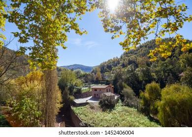 Sant Joan de les Abadesses, Catalonia, Spain. Landscape pyrenees mountain.