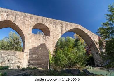 Sant Joan de les Abadesses, Catalonia, Spain. Old bridge, Pont Vell.