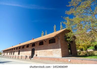 Sant Joan de les Abadesses, Catalonia, Spain. Old train station, industrial rail,cami del ferro.