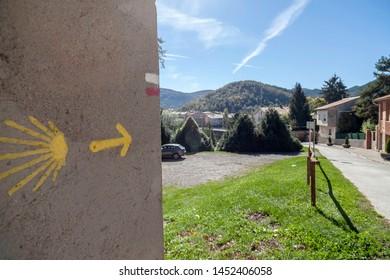 Sant Joan de les Abadesses, Catalonia, Spain. Village view and Camino de Santiago sign route.