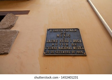 SANT JOAN DE LES ABADESSES,SPAIN- OCTOBER 25,2018: Information sign of Jaume Nuno i Roca,  author of the Mexican national anthem.