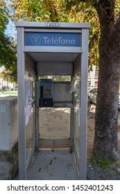 SANT JOAN DE LES ABADESSES,SPAIN- OCTOBER 25,2018: Phone booth box, village street.