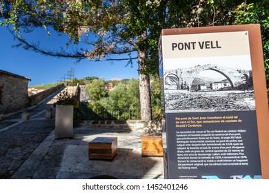 SANT JOAN DE LES ABADESSES,SPAIN- OCTOBER 25,2018: Old bridge, Pont Vell. Sign information.