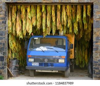 Sant Julia de Loria, Andorra. October 16 2017 : Truck in tobacco dryer in Juberri in Sant Julia de Loria, Andorra