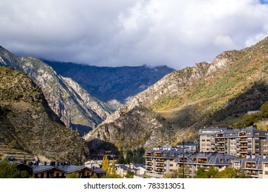 Sant Julia de Loria town in the valley of the Pyrenees mountains, Andorra.