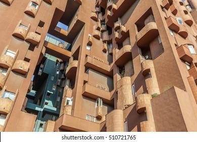 SANT JUST DESVERN,SPAIN-JUNE 27,2015: Modern architecture,building, Walden 7, apartment building, designed by Ricard Bofill.Sant Just Desvern, Province Barcelona, Catalonia, Spain.